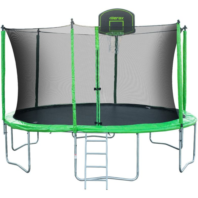 Merax 14 ft Round Trampoline with Safety Enclosure, Basketball Hoop, Ladder