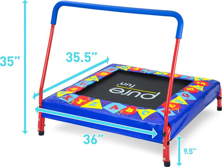 "Pure Fun Kids Preschool Jumper: 36"" Mini Trampoline with Handrail"